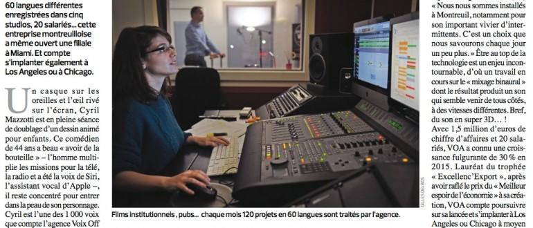 Studios VOA - Article Journal Le Montreuillois - Entreprise Voix Off et Doublage - de Paris à Miami