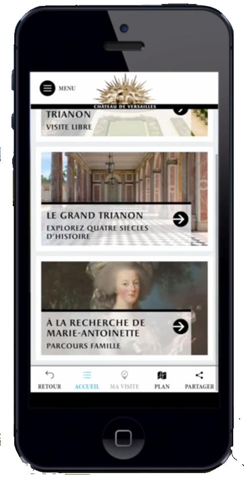 Application Châteaux et jardins de Trianon par Chateau de Versailles. Voix Off audioguides by Studios VOA