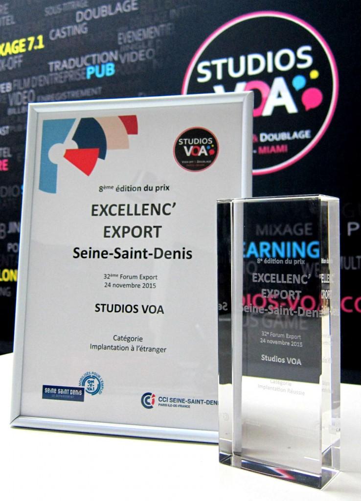 Trophée Export Prix de l'implantation Réussie STUDIOS VOA