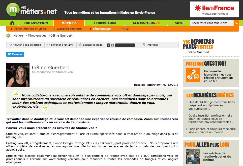 ITW Celine Guerbert site les metiers.net